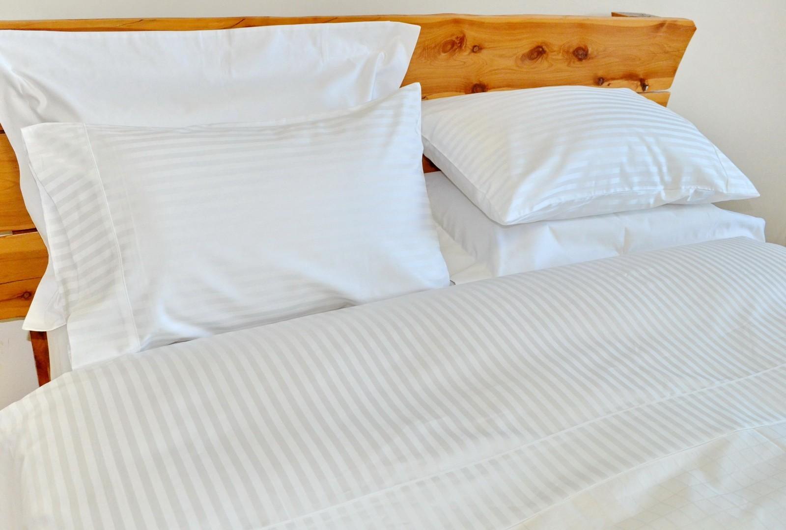 Cotton Sheet Set White Stripe ...