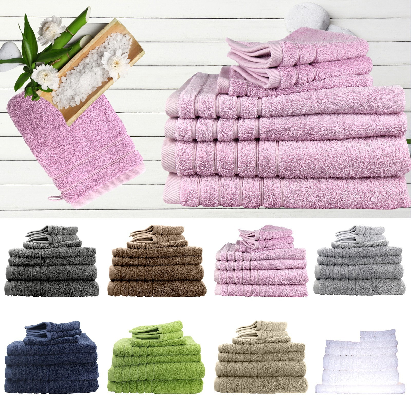 Egyptian Cotton 7 Pieces Bath Sheetss Combo Set