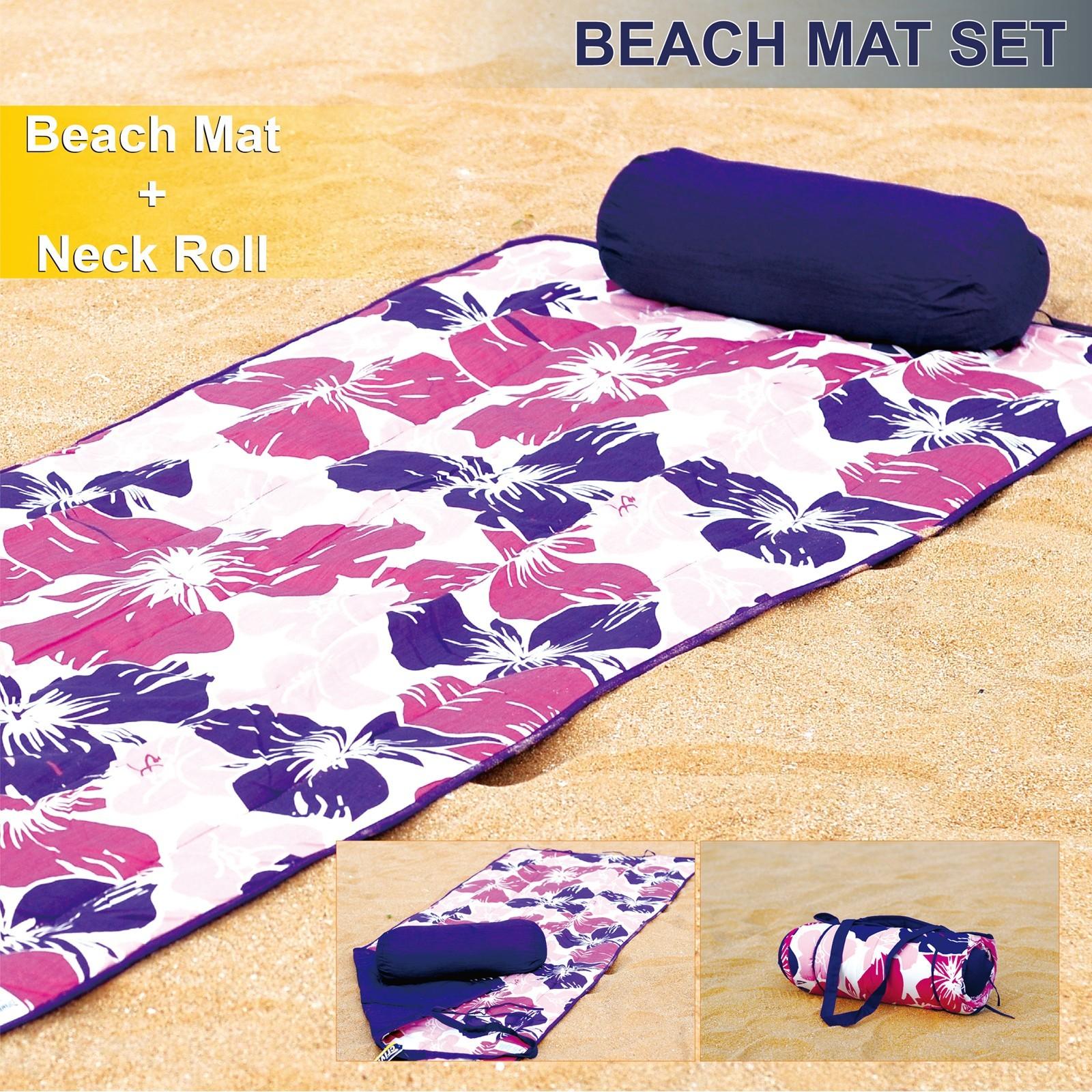 Roll-Up Reversible Beach Mat with Neck Pillow Purple Flower