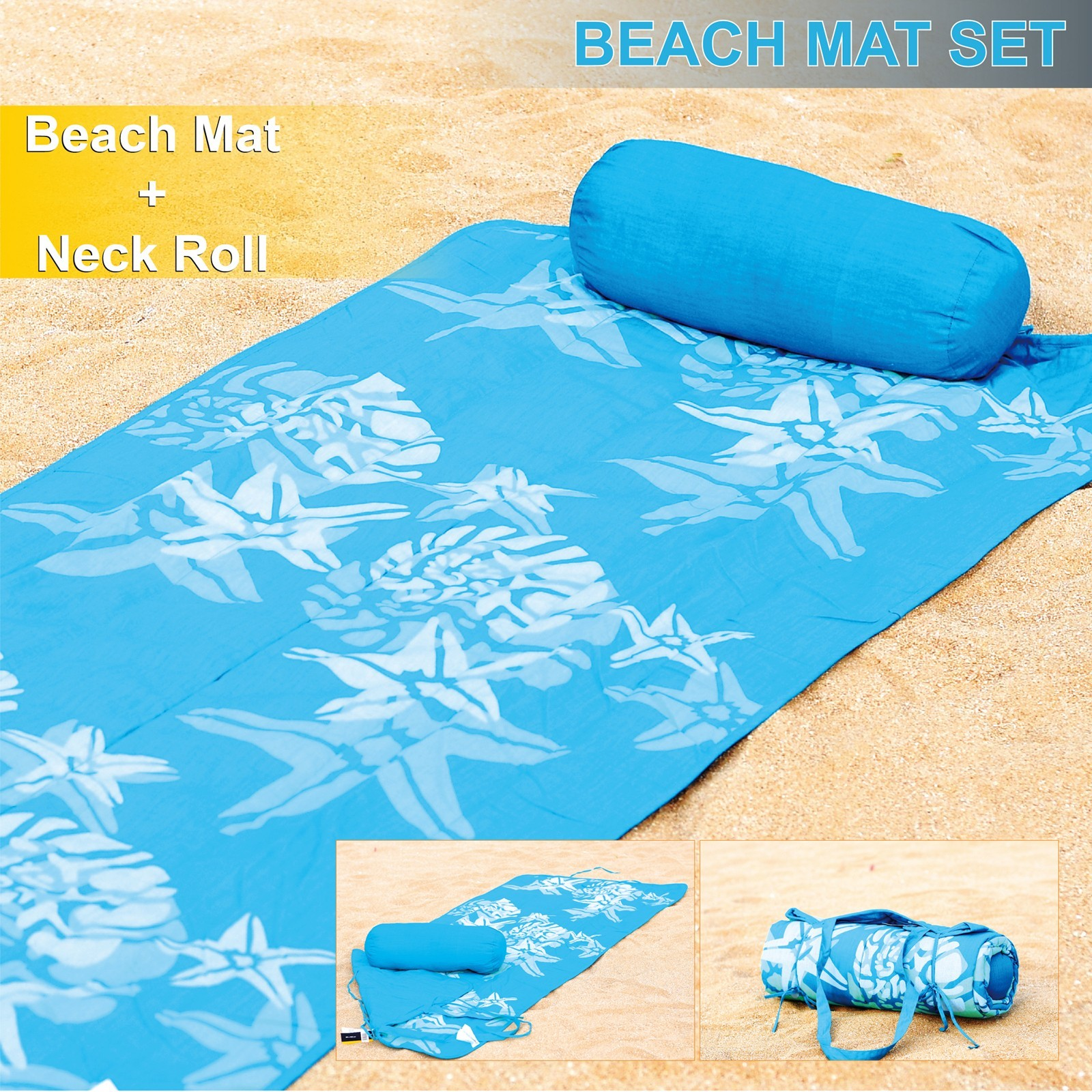 Roll-Up Reversible Beach Mat with Neck Pillow Star Fish