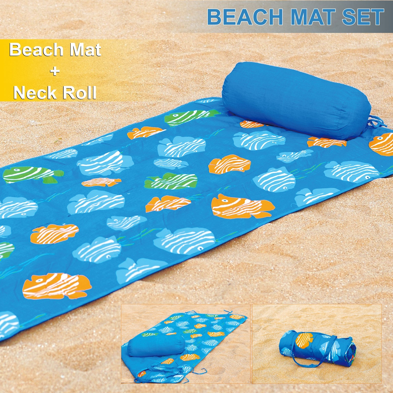 Beach Towel and Roll Up Beach Mat + Neck Roll Pillow Tropical Fish