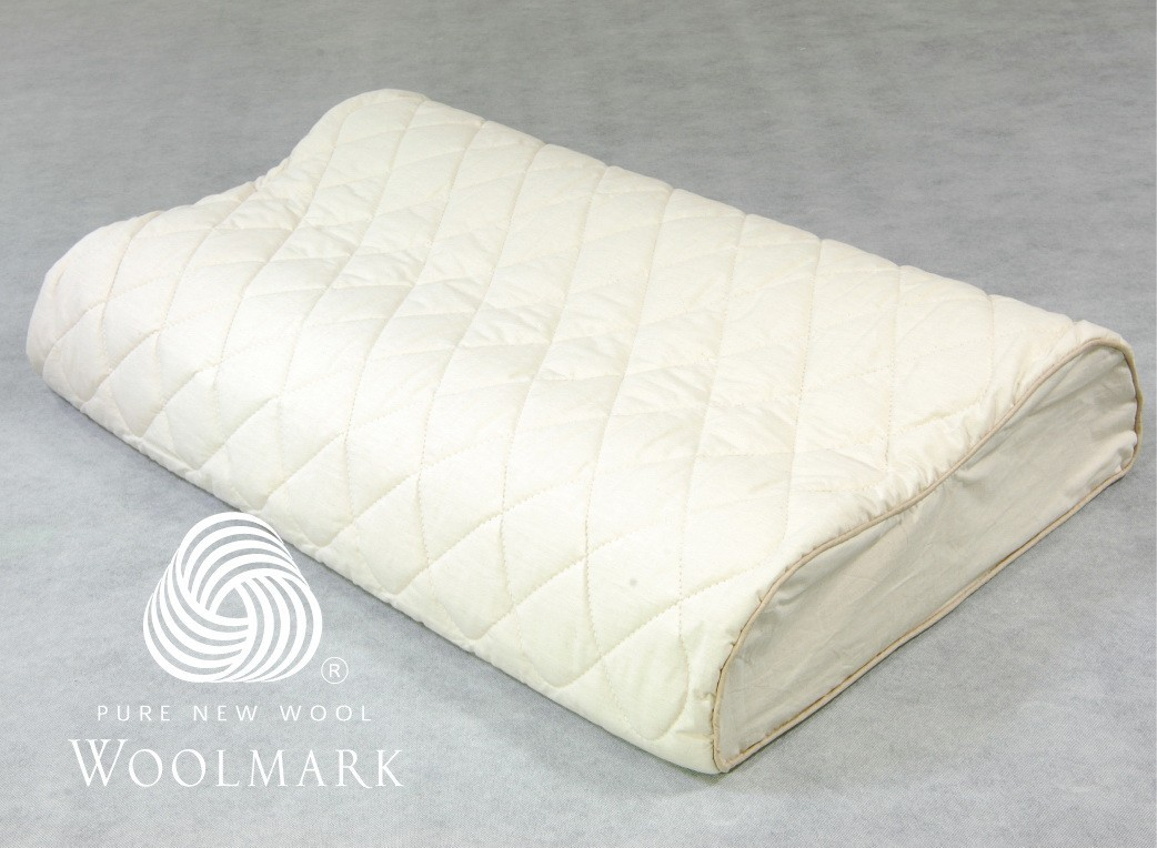 Hybrid Latex Plus Wool Therapeutic Design Pillow Contoured Shape 60 x 40 x 10/12 cm