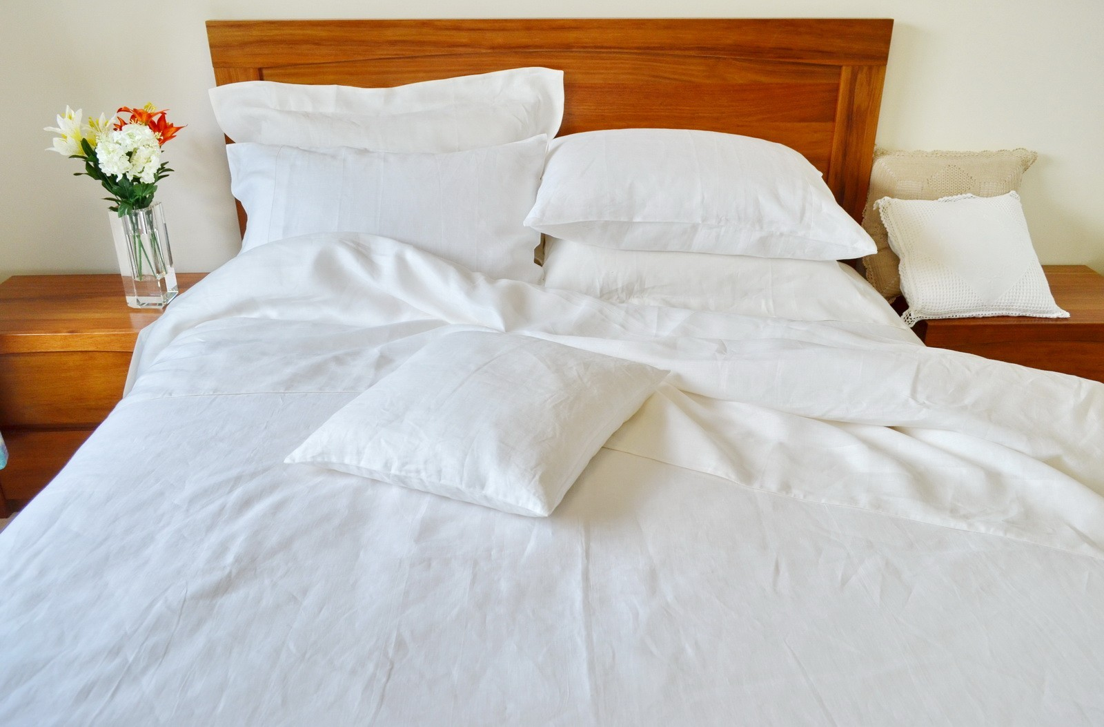 Pure Linen Sheets Queen Size Plain White