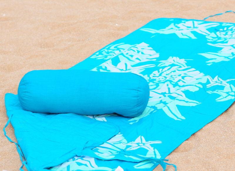 Beach Towel and Roll Up Beach Mat + Neck Roll Pillow Star Fish