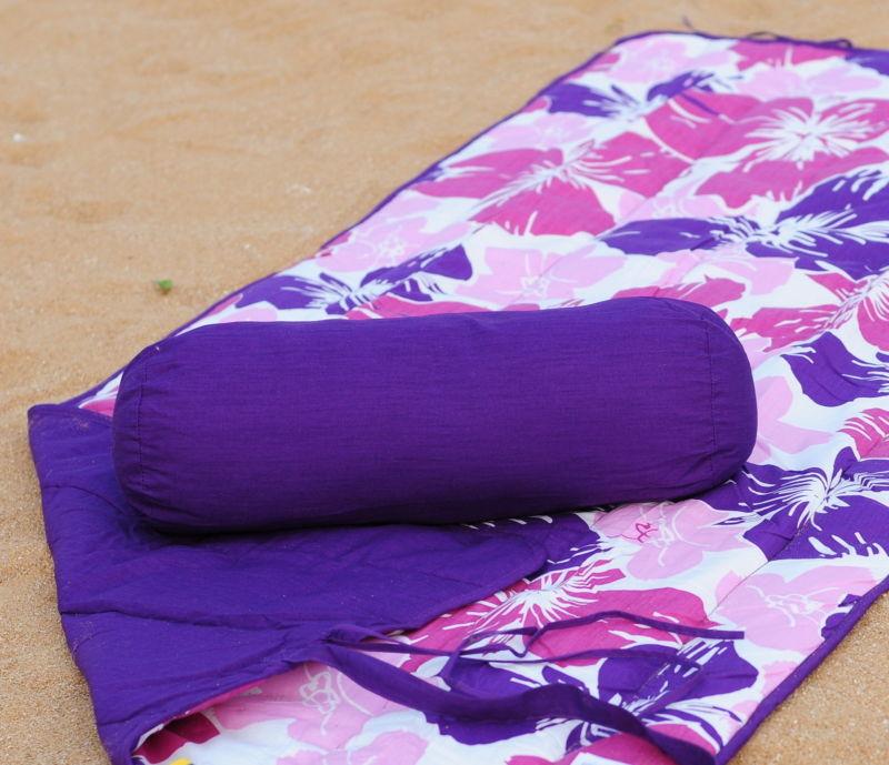 Beach Towel and Roll Up Beach Mat + Neck Roll Pillow Purple Flower