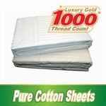 Pure Cotton 1000TC Single Bed Fitted Sheets