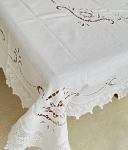 Handmade Pure Linen Crochet Lace Tablecloth Set 72 x 108 Inches