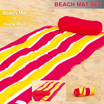 Roll-Up Reversible Beach Mat with Neck Pillow Dynamic Wave
