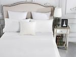Luxury 1800TC Cotton Rich Single Sheet Sets White